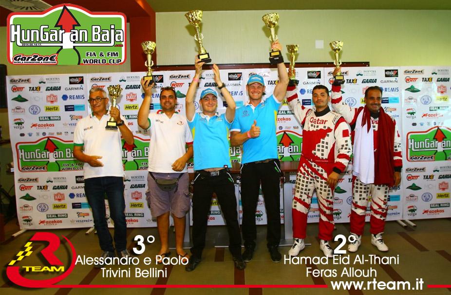 RTeam sul 2° e 3° gradino del podio all'Hungarian Baja 2015